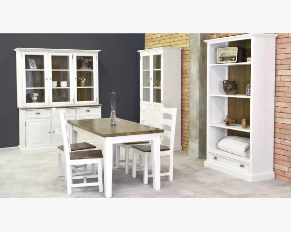 Modern tömörfa étkezőasztal és székek